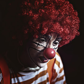 Clown by Ivana  Todorovic - People Musicians & Entertainers ( wig, red, clown, sad, portrait )