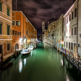 Venice by Night by Michael Wiejowski - City,  Street & Park  Historic Districts ( canals, europe, venice, night, travel, italy )