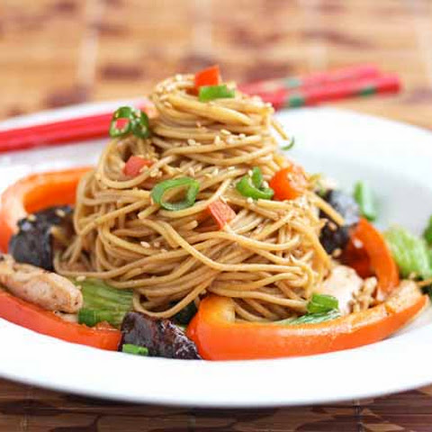 Stir-Fry Noodles with Chicken, Shitake Mushrooms and Chinese Vegetables