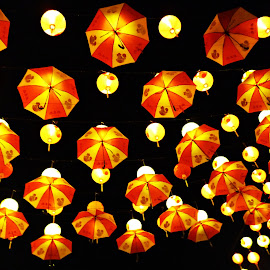 Yellowy Sky by Arifah Mardiningrum - Artistic Objects Other Objects ( lantern, red and yellow, umbrella, light, chinese )