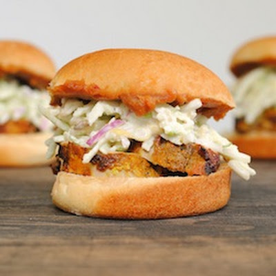 Curried Pork Sliders with Peanut Sauce and Apple Slaw