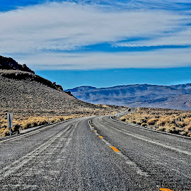 Across Nevada by Barbara Brock - Transportation Roads ( wilderness, desert, nevada, desert roadway, cloudy skies )
