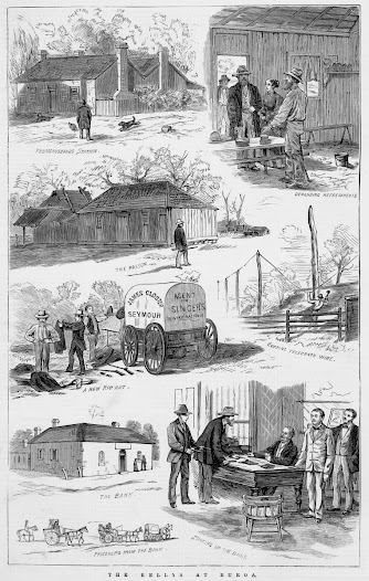 "These engravings published in The illustrated Australian news document the events which took place at Faithful's Creek Station near Euroa owned by Younghusband and Lyle of Melbourne. The Kelly Gang locked 22 people in the station storeroom, described here as ""The Prison"", and then went on to rob the Euroa bank."