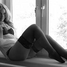 Window by Phil Nix - Nudes & Boudoir Boudoir ( stockings, sexy, black and white, legs, shirt )