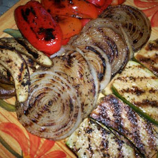 Grilled Zucchini, Onions, and Red Peppers