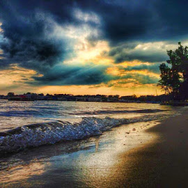 Sunset on a Michigan Beach by Ashley McCuen - Landscapes Beaches (  )