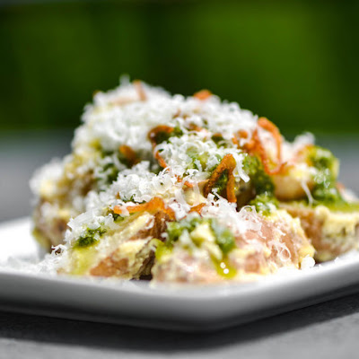 Fingerling Potato Salad with Aioli, Pesto, Fried Shallots, and Pecorino