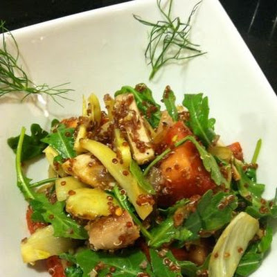 Roasted fennel and red quinoa salad, chicken, arugula,tomato,Sherry vinaigrette.