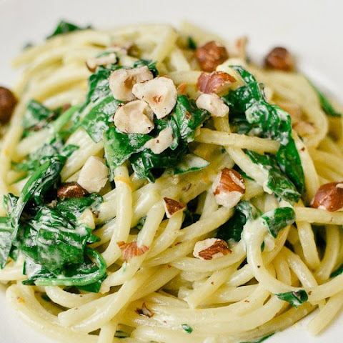 Spaghetti with Mascarpone, Meyer Lemon, Spinach, and Hazelnuts