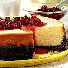 White Chocolate Cheesecake with Cranberry Currant Compote