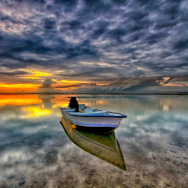 alone by Agus Eka Kurniawan - Transportation Boats ( colour, bali, reflection, sanur, sea, beach, sunrise, landscape, boat, sun )