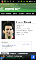 Screenshot of Lionel Messi FIFA Widget