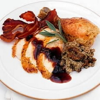 Traditional Roast Chicken with Apple, Sage and Onion Stuffing, Cranberry and Sage Sauce and Chicken-giblet Gravy