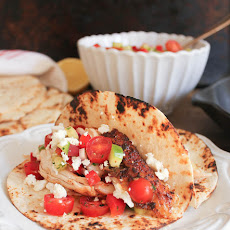 Slow-Roasted Chicken Tacos with Mediterranean Salsa