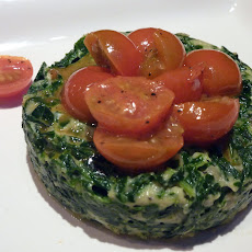 Cozy Spinach Timbales with Sauteed Tomatoes
