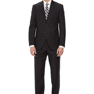 Neiman Marcus Two-Piece Striped Wool Suit, Black - (46R)