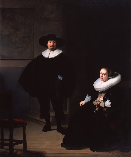 "Berenson acquired <i>A Lady and Gentleman in Black</i> on Gardner's behalf at the same time. It hung on the wall nearby, to the left.  He described this couple as ""quiet, refined people, lined in a dignified, distinguished way, and not scamped, and dashed off as so many of Rembrandt's pictures are."""
