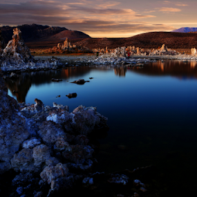 Moody Blue by Dennis Ducilla - Landscapes Waterscapes ( water, blue, california, sunset, red.., tufa ridges, mono,  )