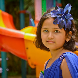 Blue  by Amol Patil - Babies & Children Child Portraits ( child, princess, girl, blue )