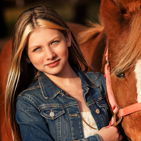 A girl and her horse by Joseph Humphries - Babies & Children Child Portraits ( jean, ranch, blueeyes, model, horse, beautiful, whitedress, fallcolors, child, striking, foliage, fall, smile, , best female portraiture )