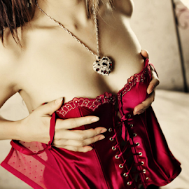 The Red Corset by Joe Bowers - Nudes & Boudoir Boudoir ( lace, red, lingerie, corset, necklace )