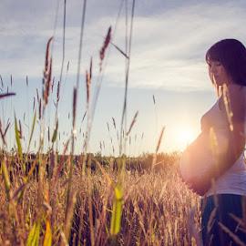 ray of light by Josie White - People Maternity ( field, maternity, grass, sunset, light )
