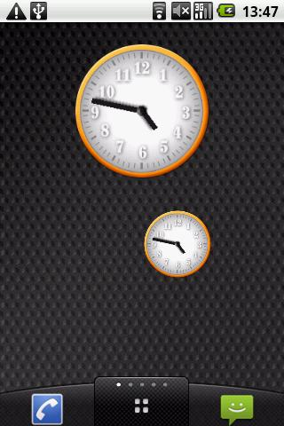 White - Orange Clock Widget