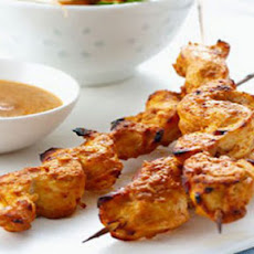 BBQ chicken satay with Indonesian-style salad