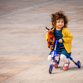 My first ride by Adrian Ioan Ciulea - People Street & Candids ( children portrait, tricycle, girl, street, cute,  )