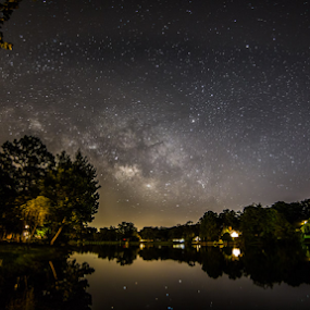 by Andy Taber - Landscapes Waterscapes ( reflection, night, lake, pond, neighborhoo, milky way, river, galaxy,  )