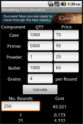 Ammo Reload Cost Calc
