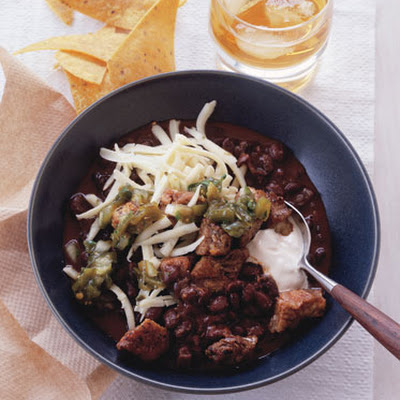 Black Bean Chili with Crispy Pork and Poblano Salsa