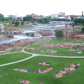 Sioux Falls, falls. by Janet Evangelisto - City,  Street & Park  Historic Districts