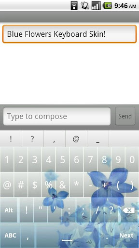 Blue Flowers Keyboard Skin