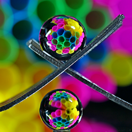by Dipali S - Artistic Objects Other Objects ( abstract, macro, fork, reflection, art, artistic, spheres, refraction, closeup )