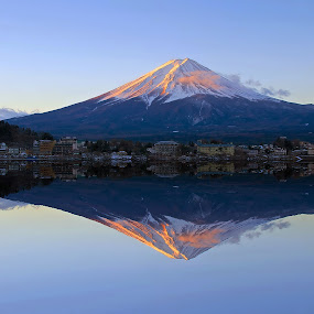 Mount Fuji at Dawn by Paul Atkinson - Landscapes Mountains & Hills ( reflection, dawn, mountain, volcano, nature, mount, fuji, lake, sunrise, scenery, landscape,  )