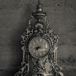What time is it? by Angela Malakian - Artistic Objects Antiques ( black and white, clock, vintage, collection, antique )
