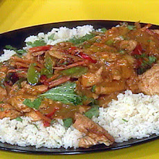 Chicken Satay Stir-Fry with Orange Scented Jasmine Rice