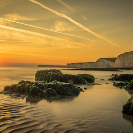 Birling Gap at Sunset by Trevor Mould - Landscapes Sunsets & Sunrises ( sunset, south downs national park, east sussex, seven sisters, birling gap )