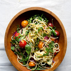 Garlic Scape and Cherry Tomato Pasta