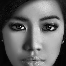 Portrait of a Woman by Jessy James Arevalo - People Portraits of Women ( woman, b&w, portrait, person )