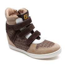 Fendi Triple Strap Wedge Trainer HIGHTOP