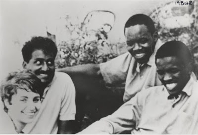 Medical Students at the University of Natal (Left to Right: Brigette Savage, Rogers Ragavan, Ben Ngubane, Steve Biko)
