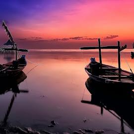 Two Boats by Ina Herliana Koswara - Transportation Boats ( water, boats, beach, sunrise, morning )
