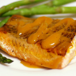Grilled Salmon with Peach-Bourbon Barbecue Sauce