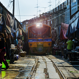 Maeklong Railway Market by Roof LovelyAim - Transportation Trains ( shop, r.oof, rooflovelyaim, thailand, transportation, travel, 18-105, people, transport, samut songkhram, rail, train, maeklong railway market, maeklong, talad rom hoop, merchant, umbrella pull down market, d3100, umbrella, unseen in thailand, roof lovelyaim, train market, market, railway, nikon d3100, run through, nikon af-s dx vr 18-105, unseen )