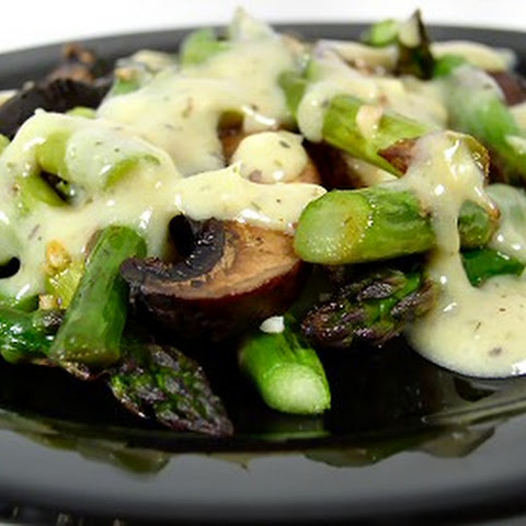 Roasted Asparagus and Portabella Mushrooms with Horseradish Sauce