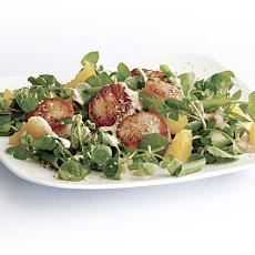 Scallops with Watercress, Orange, and Miso Vinaigrette