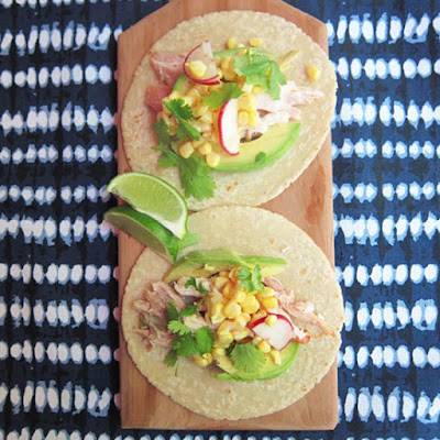(Almost) No-Cook Chicken Tacos with Corn Salad and Avocado