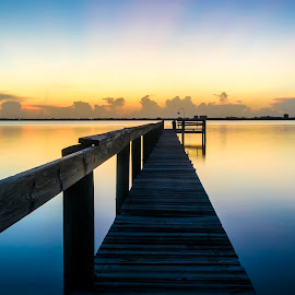 Early rise by Bradley Wilson - Landscapes Waterscapes ( smooth, sunrise, early, dock, river )